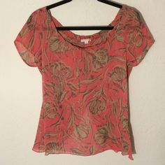 Flower Open-back Top Tank and salmon pink floral open back top G by Guess Tops Blouses