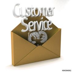 """""""3D Customer Service golden open envelope Ad"""" Stock photo and royalty-free images on Fotolia.com - Pic 84384062"""