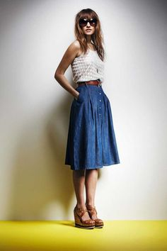 Midi length, A-line denim skirt in premium washed denim with front ...