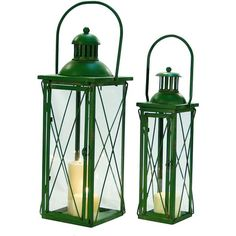 Vintage Rustic Green Metal Lanterns, Set of 2 ($90) ❤ liked on Polyvore featuring home, home decor, candles & candleholders, metal home decor, metal lanterns, green home decor, metal candle and cross home decor