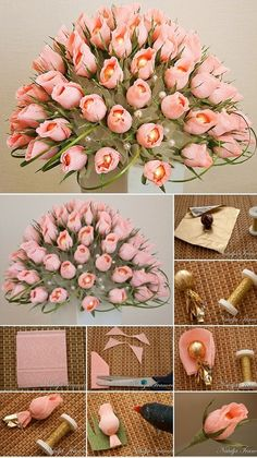 Paper Flowers Craft, Paper Roses, Flower Crafts, Diy Flowers, Fabric Flowers, Paper Crafts, Diy Crafts For Gifts, Diy Arts And Crafts, Diy Birthday Gifts For Sister