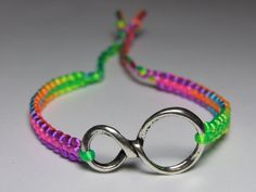 Infinity Bracelet with neon mix nylon thread by ByKarianne on Etsy, kr55.00