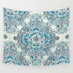Wall Tapestry by Micklyn: A detailed mandala doodle pattern full of natural botanical elements - leaves, flowers, ferns and vines. This is the third version, in deep teal blue...