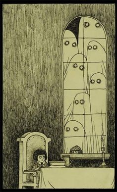 Is this an Edward Gorey illustration? No, it's Don Kenn (or John Kenn if you prefer, I've seen his name written both ways). Edward Gorey, Arte Horror, Horror Art, Art Inspo, Inspiration Art, Art And Illustration, Monster Illustration, Don Kenn, Art Sinistre
