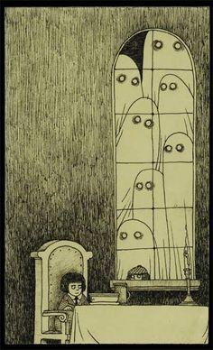 Is this an Edward Gorey illustration? No, it's Don Kenn (or John Kenn if you prefer, I've seen his name written both ways). Edward Gorey, Art And Illustration, Monster Illustration, Arte Horror, Horror Art, Don Kenn, Arte Inspo, Posca Art, Arte Obscura