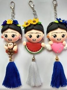 Fimo Clay, Polymer Clay Charms, Polymer Clay Art, Polymer Clay Projects, Clay Earrings, Clay Jewelry, Clay Crafts, Diy And Crafts, Clay Keychain