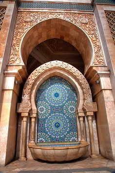 Fountain outside Hassan II Mosque in Casablanca, Morocco (by Jasen Robillard).