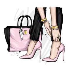 Fashion Casual, Pink Fashion, Fashion Shoes, Woman Fashion, Fashion Artwork, Fashion Wall Art, Fashion Illustration Shoes, Fashion Clipart, Shoe Art