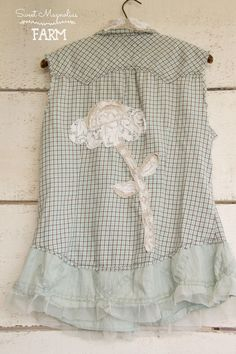 All new Simply Spring Farm Girl Fancies Upcycled Shirts .. This Sweet Blue Plaid with Linen and vintage lace flower back with stunning ruffle and sweet pockets on the front is now in our Etsy Shop .. BOHO Top , Shabby Chic Clothing, Upcycled Clothing