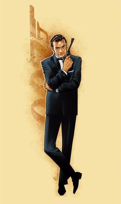 James Bond 007 / Sean Connery art tribute by Mo Caro