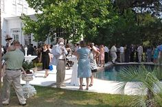 Wedding reception in the patio and pool area.