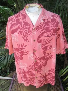 f4081e0a Hawaiian ALOHA shirt M 23 pit to pit TOMMY BAHAMA silk blue tropical floral  | eBay