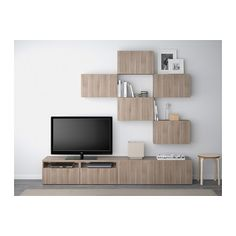 BESTÅ TV storage combination - Lappviken walnut effect light gray, drawer runner, push-open - IKEA