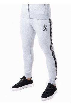 Taped Tracksuit Bottoms - Snow Marl #gymking