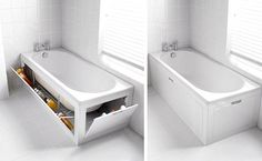 Stowaway Bath Panel Storage System - The Stowaway Bath Panel Storage System is a unique take on the traditional bathtub, namely for its ability to make use of extra space. The bathtub . Bath Panel Storage, Bathtub Storage, Diy Bathtub, Storage Tubs, Modern Bathtub, Freestanding Bathtub, Storage Baskets, Secret Hiding Places, Hiding Spots