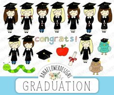 """#Graduation clip art: """"Graduation #clipart"""" with hand drawn clip art, graduation doodles, graduation owls, student clipart, and school clipart by hanaflowerdesigns on #Etsy. A cute collection of hand drawn graduation graphics that you can use for scrapbooking, cards, invites, and more!"""
