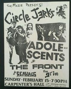 Vintage Original Punk Flyer 1987 San Diego - Circle Jerks, Adolescents and more