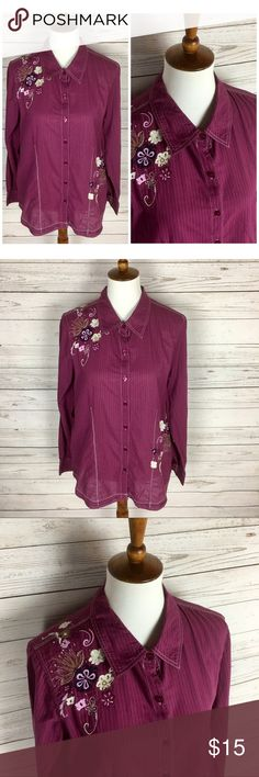 Western Pinstriped Floral Embroidered Button Up Pinstriped - Button Up - Floral embroidery - long sleeve - Bust: 22 inches - Sleeve Length: 24 3/4 inches Susan Graver Tops Button Down Shirts