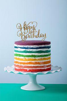 Birthday Cake Topper in Glitter Happy Birthday Calligraphy Style for Birthday Party (Item - CHB800)