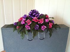 Purple/pink glitter tiped silk roses by GuardianFlowers on Etsy, $34.99