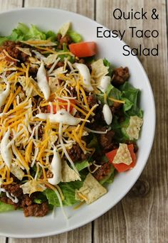If you're craving a filling and tasty salad, this quick & easy Taco Salad fits the bill. You can have it on the table in about 15 minutes, and probably have most of the ingredients on hand. #CookingUpGood AD