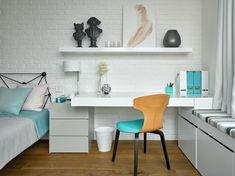Przestronny apartament w Moskwie, biała cegła w pokoju dziecięcym - Wnętrze - Zainspiruj się z Foorni.pl