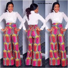 Wide leg African print pants by THEAFRICANSHOP on EtsyAfrican Prints, African women dresses, African fashion styles, african clothing