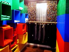 get wooden boxes, paint them different lego colors and attach to the wall for lego room
