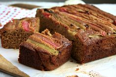 Rhubarb gingerbread cake recipe, a classic gingerbread cake layered with sweet roasted rhubarb before baking. Very pretty, easy and delicious.