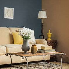 Named a September 2015 Color of the Month by @thisoldhouse, Union Blue pairs well with yellow accents and enhances neutral décor. Click through to see more surprisingly cheerful ways to use grey in your home.