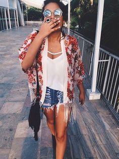 kimono + white tee + cutoffs. #summeroutfit