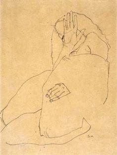 Egon Schiele Kauerndes Mädchen 1910