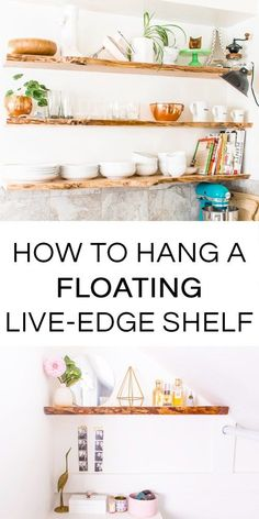 How to hang floating solid wood shelves, perfect for hanging live-edge shelves. You can do it yourself, even if you're a beginner!
