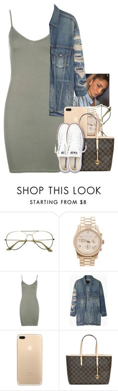 """Untitled #1862"" by toniiiiiiiiiiiiiii ❤ liked on Polyvore featuring Michael Kors, Boohoo, R13 and Converse"