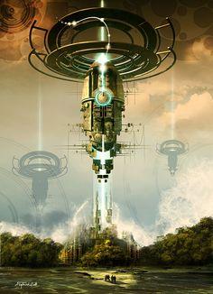 Retro Futurism At Its Best: Designs and Tutorials — Smashing Magazine auffallende Raumschiff-Staffel Fantasy Places, Sci Fi Fantasy, Fantasy World, Space Fantasy, Steampunk, Space Opera, Sci Fi City, New Retro Wave, Futuristic City