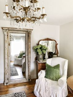Leaning Mirror made from an Old Church Window - An old church window makes for a nice frame for a leaning full length mirror. French Decor, French Country Decorating, French Bedroom Decor, Wood Floor Pattern, Leaning Mirror, Church Windows, Romantic Homes, Romantic Cottage, Sweet Home