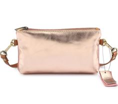 Rose gold metallic leather mini purse bag by Hydestyle. Pink suede on reverse side with zip pocket. Mini Purse, Stripes Design, Metallic Leather, Rose Gold, Purses, Pink, Bags, Handbags, Handbags