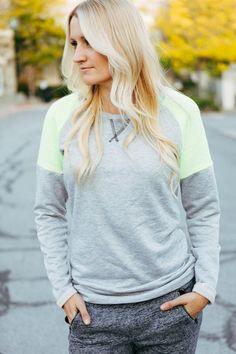 Lounge Raglan Sweatshirt - Pop of Neon