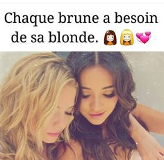 Chaque brune a besoin de sa blonde#chloé Love My Best Friend, Best Friends Forever, Citations Blondes, Bff, Besties, Pretty Little Liars, Friendship Quotes, Decir No, I Am Awesome