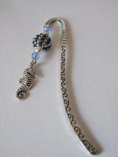 Seahorse Charm Bookmark Blue & Silver Beaded Bead Dangle Silver Metal Shepherd's Hook Bookmark Ideal Gift Sea Animal Journal Page Keeper Gift Envelope, Faceted Glass, Handmade Items, Handmade Gifts, Wooden Beads, Pearl Beads, Blue And Silver, Dangles, Beaded Bead