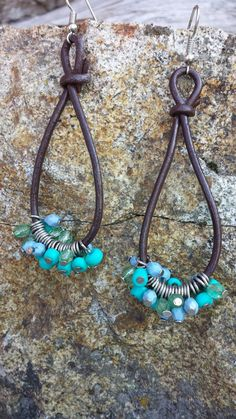 Western earrings, Boho Earrings, Cowgirl Earrings, Tear Drop Earrings, Leather Earrings, Turquoise Bead Earrings on Etsy, $12.50