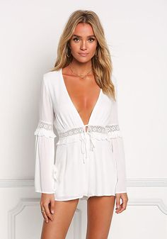 c3be6ef6cbcd White V Plunge Embroidered Bell Sleeve Romper - Jumpsuits & Rompers - Clothes  Romper Long Pants