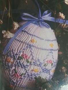 Smocked egg pattern found in Sew Beautiful magazine Easter 1996 issue