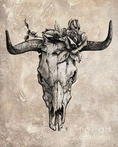 Cow skull tattoo flash - photo#3