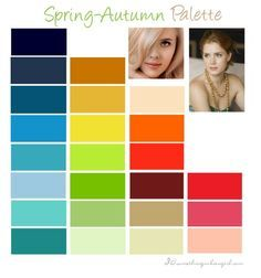 Warm Spring color palette Spring to Autumn some colours look good on warm spring individuals.