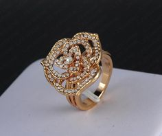 Gold Plated Rose Shaped Ring With Austrian Crystals *** HOT DEAL! Sale ends August 30th! ***
