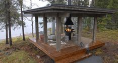 Outdoor Rooms, Outdoor Living, Bbq Hut, Gazebo With Fire Pit, Outdoor Pavilion, Tiny Cabins, Summer Kitchen, Park Hotel, Cabins In The Woods