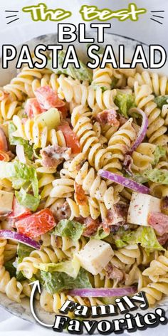 Bring on the Summer BBQ's and serve this BLT PASTA SALAD! This yummy and easy salad recipe is full of bacon, tomato, lettuce, pasta and more – one of my favourites! It's sure to be a crowd pleaser for your family, entertaining or potlucks! #bltsalad #saladrecipes #easyrecipes #recipe #saladrecipe #bltsaladrecipe #campingrecipe #potlucksalad Savory Salads, Easy Salads, Best Side Dishes, Side Dish Recipes, Blt Pasta Salads, Best Salad Recipes, Spring Salad, Potlucks, Kitchen Recipes