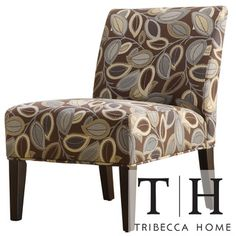Tribecca Home Decor Leaves Print Upholstered Lounge Chair | Overstock.com  Shopping   Great Deals