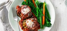 Italian Beef Rissoles with Grilled Eggplant, Tomato and Parmesan | Quick & Easy | MiNDFOOD